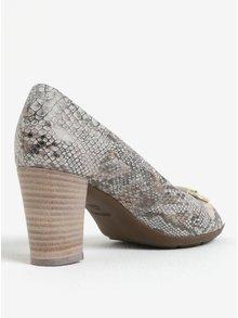 Pantofi peep-toe bej din piele naturala cu aspect de piele de reptila Geox Annya