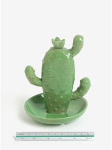 Zelený stojan na šperky v tvare plochého kaktusu SIFCON