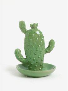 Zelený stojan na šperky ve tvaru plochého kaktusu SIFCON