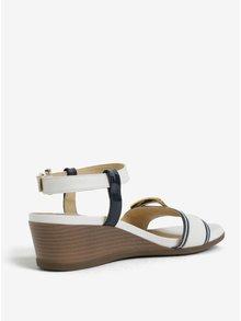 Modro–krémové sandálky na plnom podpätku Geox Mary Karmen