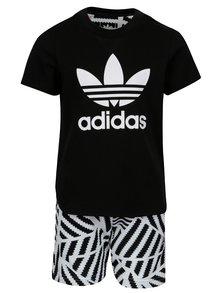 Bielo-čierna chlapčenská súprava s kraťasmi a tričkom adidas Originals