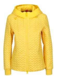 Žltá dámska prešívaná bunda s kapucňou Geox
