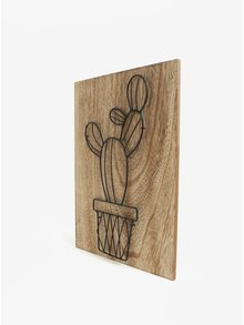 Hnedý 3D obraz s kovovým kaktusom SIFCON