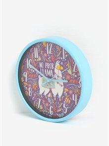 Fialovo-modré dětské nástěnné hodiny s motivem lamy SIFCON