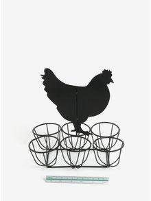 Čierny kovový stojan na vajíčka s tabuľou v tvare sliepky SIFCON