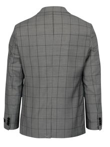 Sacou skinny fit gri  in carouri cu batista decorativa - Burton Menswear London