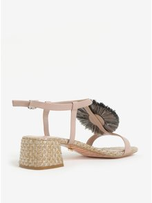 Starorůžové kožené sandálky se zdobením Dune London Minah