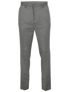 Pantaloni gri tapered fit cu model discret - Burton Menswear London