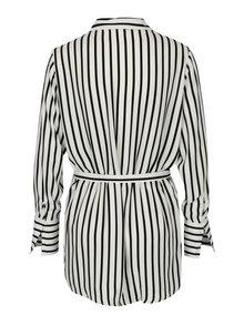 Čierno-krémová pruhovaná košeľa s opaskom Jacqueline de Yong Fancy