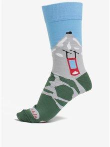 Modro-zelené unisex ponožky s motívom hôr Fusakle Lomničák