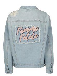 Jacheta din denim albastra cu aspect uzat si broderie ONLY Caroline