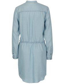 Rochie camasa albastra din denim cu snur in talie - ONLY Heather