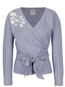 Bluza albastra in dungi cu broderie ONLY Odelia
