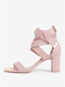 Růžové kožené sandálky s mašlí Ted Baker Peyepa