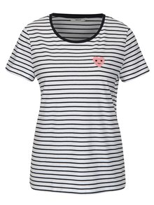Tricou cu dungi si broderie inima ONLY Cos