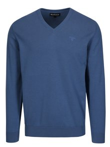 Modrý sveter s véčkovým výstrihom a výšivkou Barbour Pima