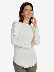 Krémový dámsky sveter s čipkou na rukávoch M&Co