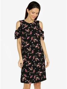 Černé květované šaty s průstřihy na ramenou M&Co