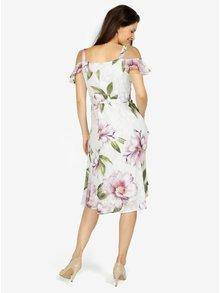 Krémové květované šaty s odhalenými rameny M&Co
