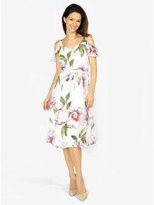 Krémové kvetované šaty s odhalenými ramenami M&Co