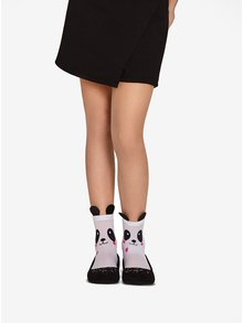 Biele dievčenské silónové ponožky s motívom pandy Penti My Panda 30 DEN