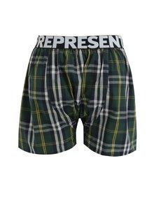 Boxeri cu carouri verde inchis & galben din bumbac - Represent Mikebox