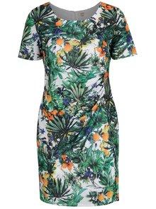 Bielo-zelené šaty s tropickým vzorom La Lemon