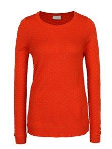 Červený tenký sveter s jemným vzorom VILA Sarafina