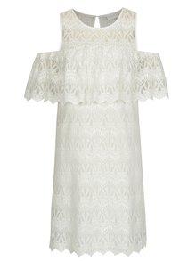Krémové čipkované šaty s prestrihmi na ramenách VILA Winstock