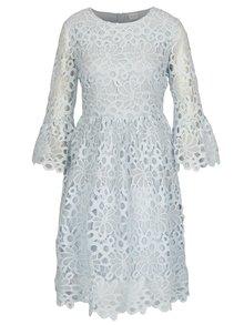 Svetlomodré čipkované šaty s volánmi na rukávoch VILA Jaco
