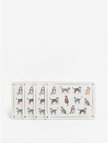 Súprava štyroch prestieraní v krémovej farbe s motívom mačiek Cooksmart