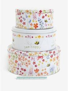 Súprava troch vzorovaných dóz v krémovej farbe Cooksmart
