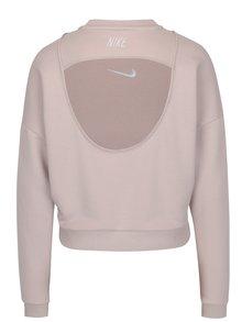 Bluza sport cropped roz cu logo brodat pentru femei -Nike CREWNECK CROP