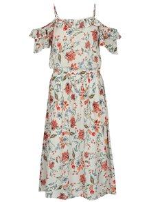 Rochie crem cu print floral si volane Dorothy Perkins