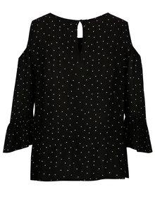 Bluza cold-shoulder neagra cu buline si volane Dorothy Perkins