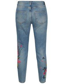 Blugi skinny albastri cu broderie florala si aspect prespalat - Dorothy Perkins