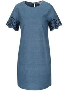 Modré rifľové šaty s krátkym rukávom a čipkou Dorothy Perkins