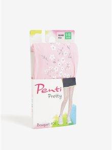 Růžové holčičí květované punčocháče Penti Pretty Bouquet 40 DEN