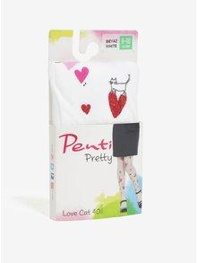 Bílé holčičí punčocháče s motivem srdíček Penti Pretty Love Cat 40 DEN