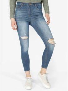 Světle modré super skinny džíny s potrhaným efektem Miss Selfridge