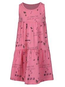 Ružové dievčenské vzorované šaty bez rukávov name it Viga