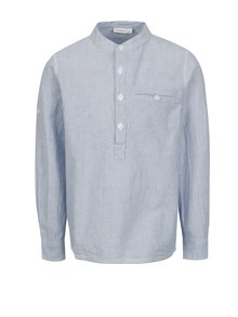 Krémovo-modrá chlapčenská košeľa s dlhým rukávom name it Mihebbe