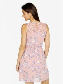 Rochie roz cu print floral si insertii din dantela - VERO MODA Shea