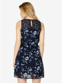 Rochie bleumarin cu print floral si insertii din dantela - VERO MODA Shea