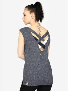 Tmavomodré melírované dámske tričko s pásikmi na chrbte Ragwear Sofia
