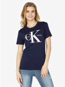 Tmavomodré dámske tričko s potlačou Calvin Klein Jeans Shrunken