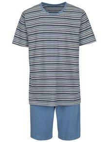 Modré pánské pruhované pyžamo M&Co
