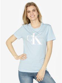 Svetlomodré dámske tričko s potlačou Calvin Klein Jeans Shrunken