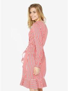 Červeno-bílé pruhované zavinovací šaty s volánem VERO MODA Lizette