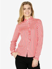 Červeno-bílá pruhovaná košile s dlouhým rukávem VERO MODA Lizette